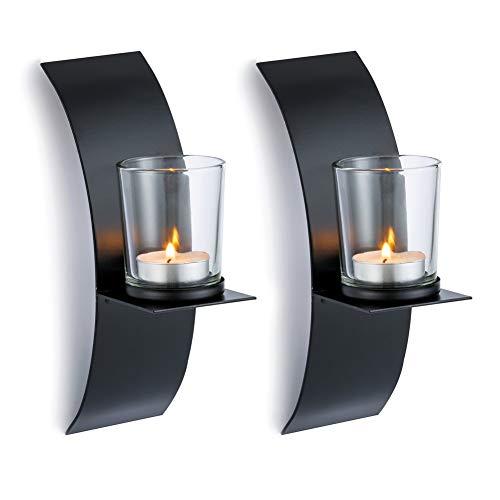 Sziqiqi 2Pcs New Home Candlestick Holders Handmade Iron Hanging Wall Sconce Candle Holder Shelf Furnishing Articles Decoration, Black