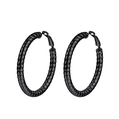 PROSTEEL Damen Ohrringe 40 mm Schwarz Creolen Huggie Hoop Ohrringe Strang Form Groß Ring Kreis Ohrringe Geschenk Jahrestag Muttertag Weihnachten Valentinstag