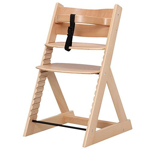 ベビーチェア 木製椅子 ハイチェア 14段階調節可能 安全ベルト付き 幅45×奥行50.5×高さ78cm ナチュラル