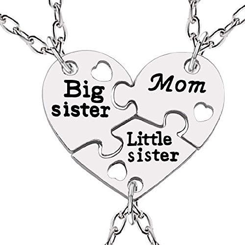 Lovelegis Tre Collane da Donna - Amicizia - Best Friends - Migliori Amiche per 3 - Cuore - Cuoricino - Best Friend - Puzzle - Big Sister X 3 - Little Sister - BFF - Sorella Maggiore - Mamma - Mom