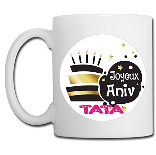 Linyatingoshop - Tazza con scritta 'Joyeux Anniv Tata', in francese