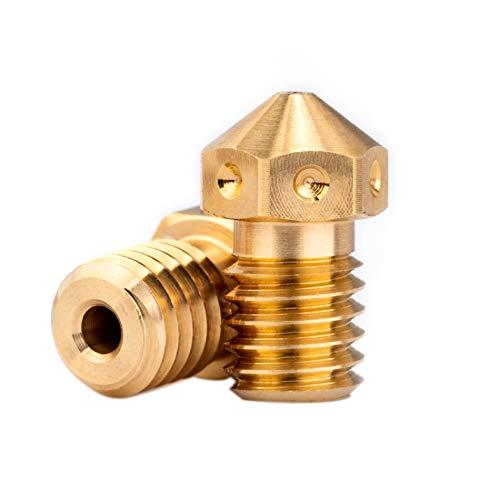 2pcs 3D Printer M6 Brass V6 Nozzle 1.75mm Compatible for Mosquito Hotend, V5 V6 Block Hotend, Prusa i3 MK3 MK3s Anycubic i3 Mega use (2pcs 0.4mm)