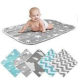 Wickelunterlage Baby Wickelauflage Baby Wickel-Decke Unterlage für Säuglinge und Kleinkinder; atmungsaktiv, waschbar, wiederverwendbar; 50 x 70 cm (Stern-Grau)