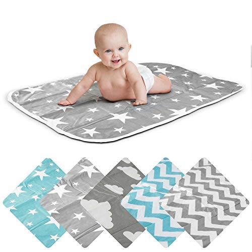 Cambiador de bebé, manta para bebés y niños pequeños, transpirable, lavable, reutilizable, 50 x 70 cm (estrella gris)