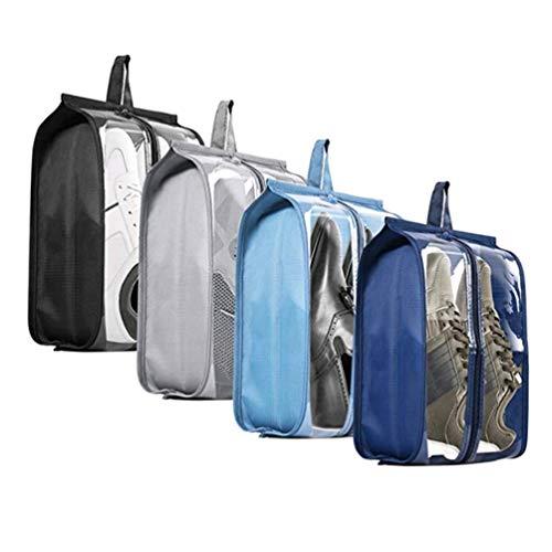 Shoe Bags for Travel - Tinbrot Zipper Storage Organizer Bag Transparent Waterproof Tote Pouch for Men & Women (4 PCS)