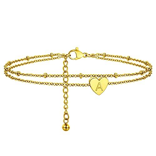 PROSTEEL Pulsera de Pie Tobillera de Oro para Mujer 18K, Tobillera Doble Capas con Dije Corazón Pulsera Verano Letra A Anklet For Women