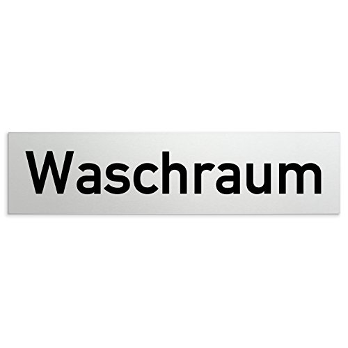 Kinekt3d Leitsysteme Aluminium Türschild Waschraum 160 x 40 x 1,5mm (Oberfläche veredelt) • Selbstklebend