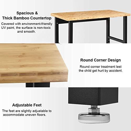 "Moccha Adjustable Workbench, 48"" Workbench Table w/Heavy-duty Bamboo Top, Garage Hardwood Workstation, Height Adjustable Work Table for Workshop, Home Office Desk"