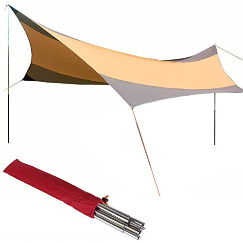 Nuokix Hammocks, Family Tent 18x18.4 Feet Waterproof Hammock Rain Fly Tent Portable Tarp Shelter With Stakes Poles Ropes Survival Gear Kit For Camping Backpacking Beach Outdoor Tent Outing Camping