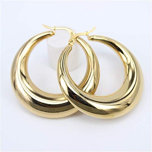 ROTAKUMA Exquisite Big Circle Hoop Earrings For Women Girl Wedding Party Stainless Steel Jewelry 5522 (Metal Color : Diameter 40MM)