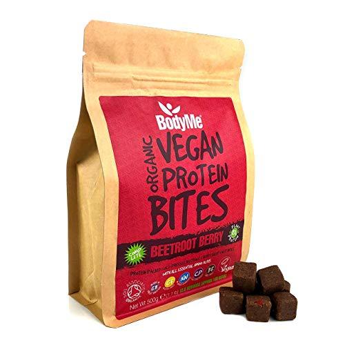 BodyMe Morsi Spuntini Proteici Vegane Biologiche | Crudo Barbabietola Bacca | 500g | 100 Morsi | Con 3 Proteines Vegetali