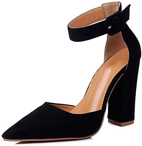 Minetom Donna Estate Scarpe col Tacco Stiletto Elegante Cinturino Caviglia Tacco Alto Pompe Partito Sandali con Lacci Nero EU 34