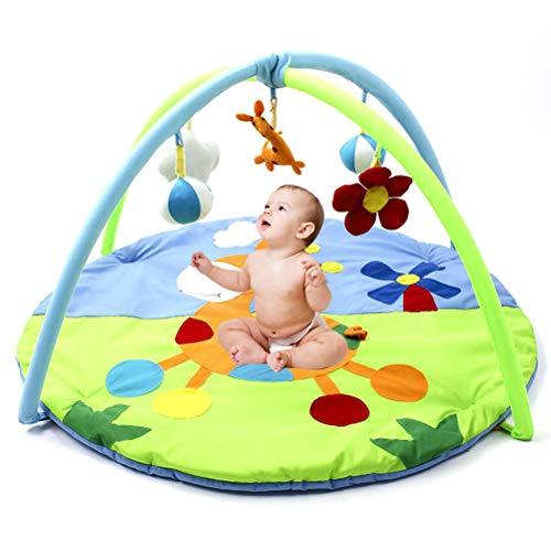 AIJIANG Colchoneta de juegos para gimnasio para bebé, suave con 5 tipos de juguetes sensoriales, manta redonda para gatear plegable para niños