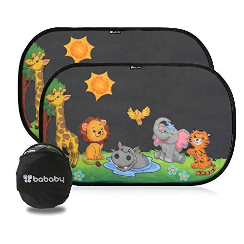 Tendine parasole auto bambini - Parasole bambini accessori auto, protezione da sole e raggi UV tendina bimbo per vetri posteriori macchina - 2 pezzi 51x31cm adesive universali animali nere