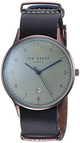 Orologio da uomo Ted Baker Ethan al quarzo con quadrante grigio cinturino in pelle nera TE50519005