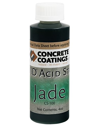 CC Concrete Coatings Vivid Acid Stain for Antique Marble Effect, Concrete Stain for Inside or Outside, Commercial or Residential Use (Jade, Deep Green, 4oz)