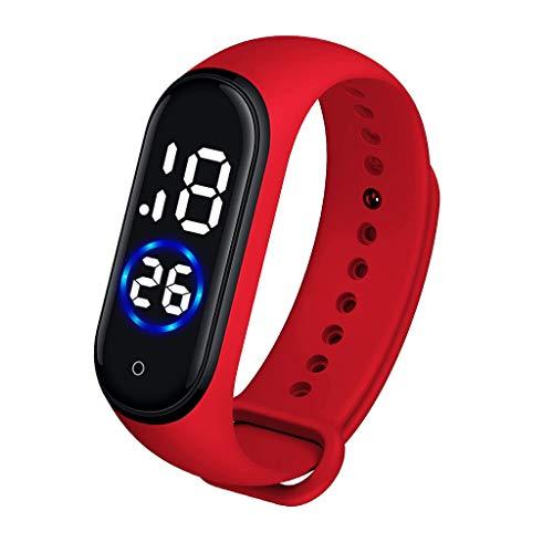 Bokeley Sports Watch, Fashion Digital LED Sports Watch Unisex Silicone Band Wrist Watches Men Women (Red)