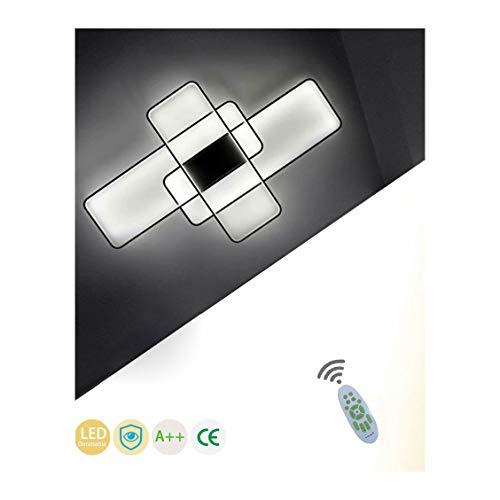 LED Modern Deckenleuchte Wohnzimmerlampe Dimmbar mit Fernbedienung Chic Eckig Design Acryl-schirm Deko Deckenlampe Metall Kronleuchter für Küchen Esszimmer Bad Flur Decke Lampe L90*W50cm (Schwarz)