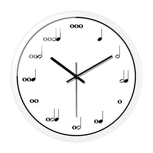 SMAQZ Wanduhr - Hinweis Uhr, Musikschule Art-Deco-Uhr Weißmetallrahmen 038 10 Zoll