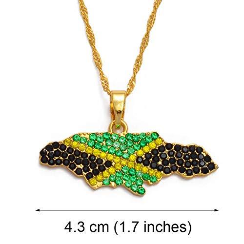 VBFG Kleur Vlag Nigeria Jamaica Met Strass Afrika Kaarten Hanger Kettingen Etnische Sieraden # 122721