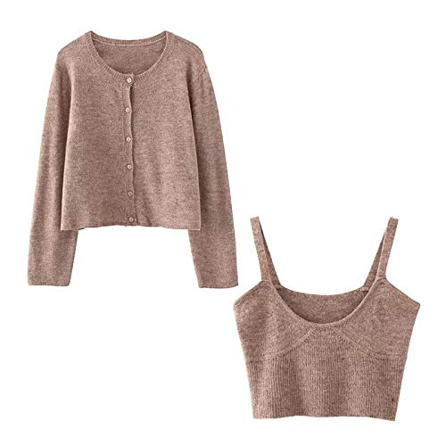 NDJqer Autumn Winter Women's Solid Khaki Cardigan Knitted Sweater Two Pieces Set Streetwear Sexy Tops-Coat and Vest-L