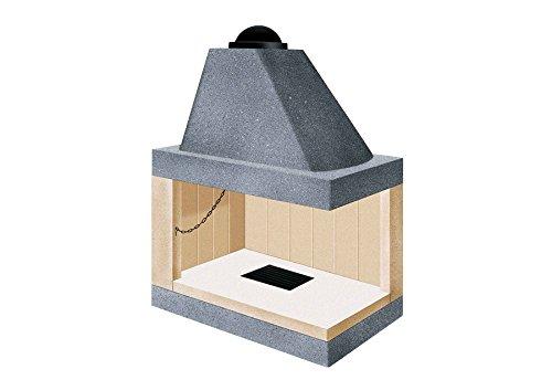 Camino caminetto refrattario cucina legna 55 mc angolo reversibile VZ 100 KD-KS
