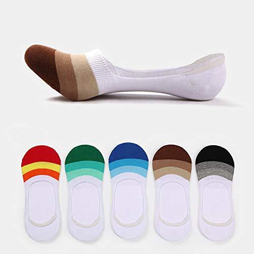 Calcetines Casuales de los Hombres Tobillo Invisible Boat Socks Silicon Anti-Slip Hechizo Color Stripe Socks Shanghai (Color : Black Stripe)