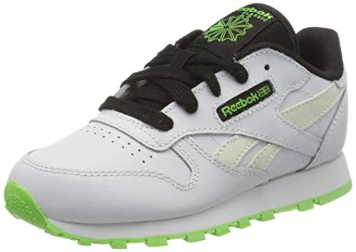 Reebok Jungen Classic Leather Gymnastics Shoe, Weiß (White/Solar Green/Black), 35 EU