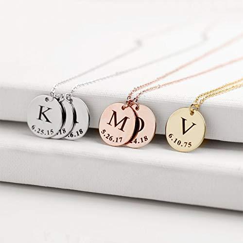 MIKUAX collarDijes para Pulsera de joyería, Collar de Barra Personalizado, joyería de Acero Inoxidable, Placa de identificación Personalizada, Gargantilla de Regalo para mamá