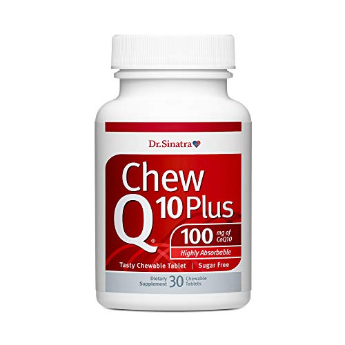 Dr. Stephen Sinatra's ChewQ10 Plus, 100 mg CoQ10 Chewable Orange-Tasting Sugar-Free Tablet with Highly Absorbable Hydro Q-Sorb® for Heart Health and Antioxidant Protection