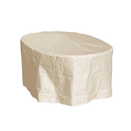 GREEN CLUB Housse de Protection Table Ovale de Jardin Haute qualité Polyester L180 x l 110 x h 70 cm Couleur Beige