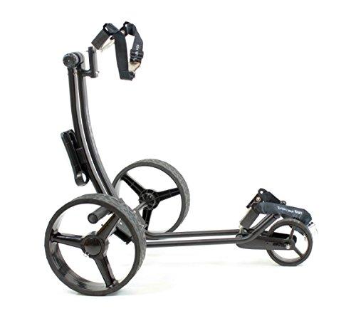 Yorrx® Slim Lion Pro 5 PLUS Golftrolley/Golfwagen/Golf Cart; AKTION: GRATIS REGENSCHIRMHALTER (Schwarz) - 3