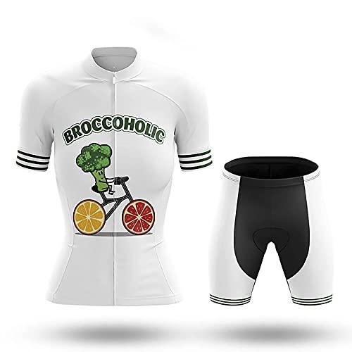 JQKA - Camiseta de ciclismo para mujer, secado rápido, camiseta de ciclismo de manga corta + pantalón de ciclismo con acolchado del asiento, color blanco