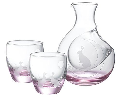 ウサギ ガラス カラフェ&酒杯 セット 16-756-5