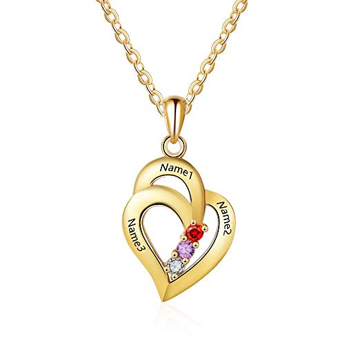 Personalized Love Heart Mothers Name Pendant Necklace with 3 5A Cubic Zirconia Birthstones Silver-Tone 18K Gold Plated Jewelry Gifts Necklace for Women Mom Wife Sister (gold)