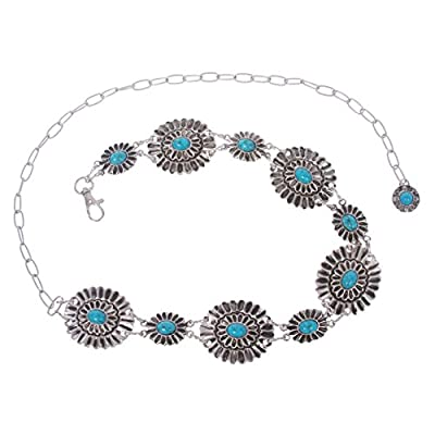 """Women's Western Turquoise Stone Blue Concho Chain Belt, one size : 24""""- 41"""""""