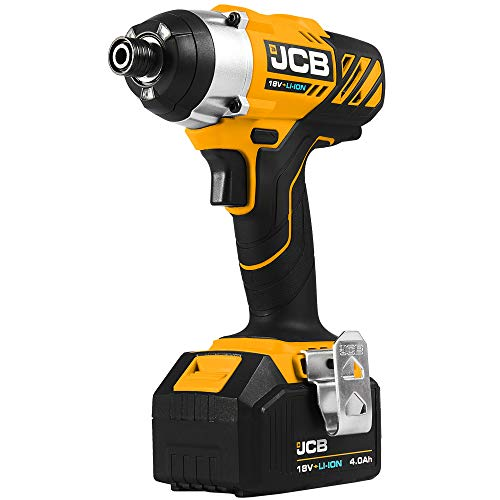 JCB 18V Cordless Impact Driver Power Tool - With 4.0Ah Lithium Ion Battery, Fast Charger - Compact Electric Screwdriver - For Repeated Fast Screwdriving, Decking, Removing Bolts With Sockets, Woodwork