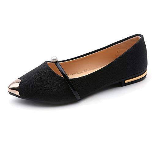 Huaheng Femme Chaussures Plates Respirant Décontracté Mocassins Peas Chaussures pour Printemps Été - Noir, 36