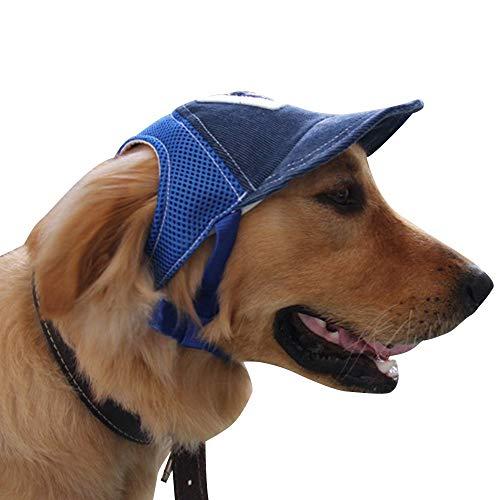 alivoda Hundekappe, verstellbare Sonnenmütze mit Ohrlöchern, Kinnriemen, für Hunde und Katzen, Größe L, Blau