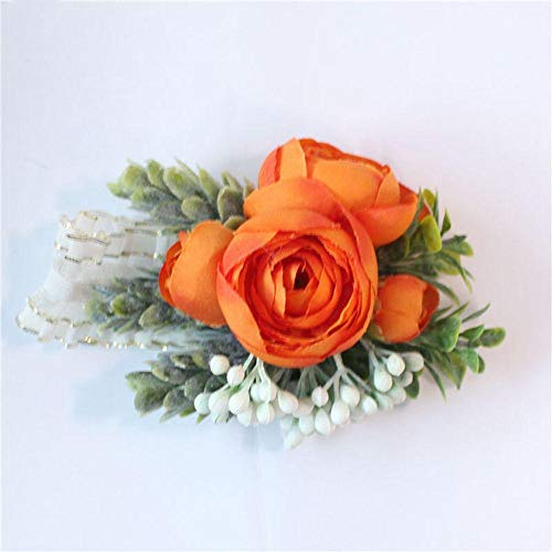 Groom Corsage Bruids Pols Corsage Rose Armband Roze Oranje Zijde Bloem Bruiloft benodigdheden Broches
