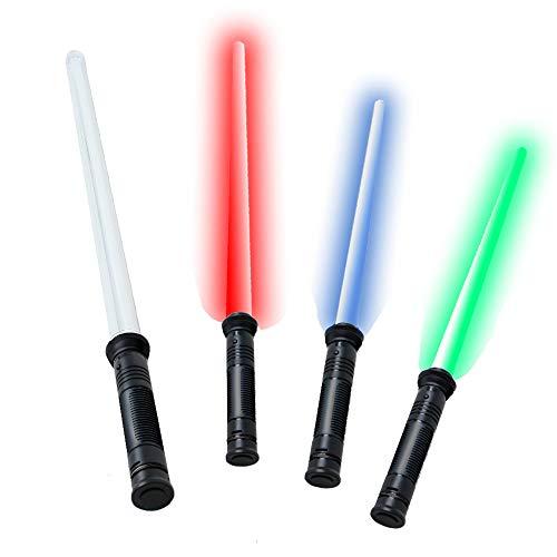 tevenger 67 cm Laserschwert Lichtschwert starr Sound 4-Fach frei wechselbare Lichteffekte blau rot grün Dauerlicht, 18535
