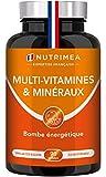 Multivitamines et minéraux enrichi en Ginseng - 100% Vitamines B1, B3, B6, B9, B12, C - Vitamine D3, Fer, Calcium, Ginseng - Boost vitalité et immunité- 90 gélules Vegan - Fabriqué en France - Nutrimea