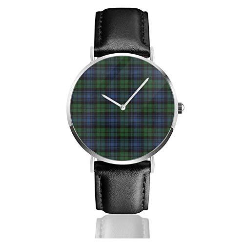 Reloj clásico, reloj negro antiguo original escocesa tartán negro correa de cuero negro relojes casuales