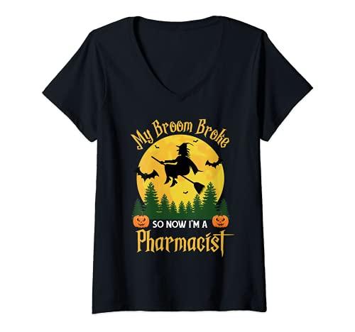 Mujer My Broom Broke So Now Soy Farmacutico - Funny Halloween Camiseta Cuello V
