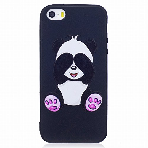 LEMORRY Funda para Apple iPhone 5S SE Carcasa, Ultra Slim Transparent Claro Suave Gel TPU Silicona Protector Rear Funda Carcasa Tapa Estuches, Alivio Cute Panda