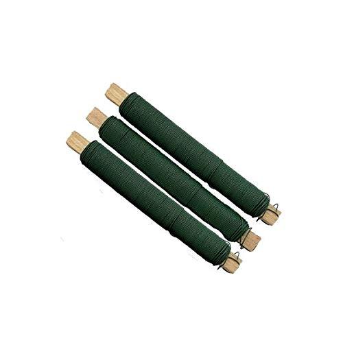 versandfuxx24 - 3 bobinas de alambre para flores de color verde, 0,65 mm, para manualidades.
