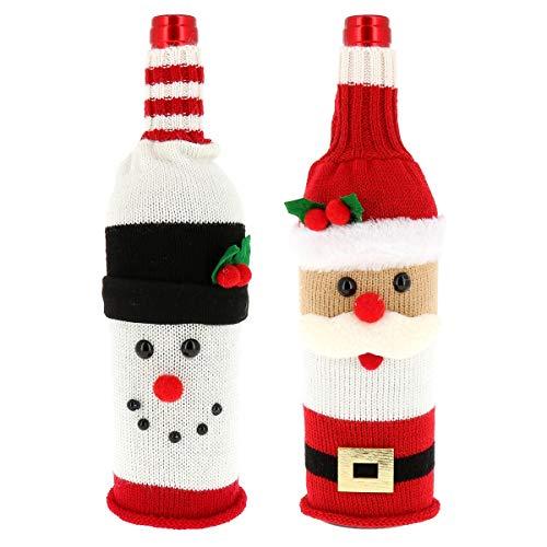 SHIPITNOW Décoration Bouteille Noël - Lot de 2 x Housse Chaussette Bouteille de Vin Noël - Motif Père Noël et Bonhomme de Neige Rouge et Blanc - Habillage Bouteille Table de Noël - Pochette