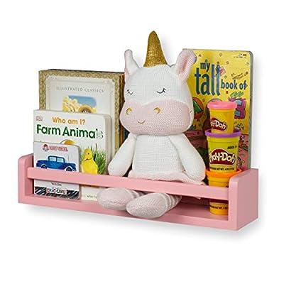 Baby Nursery Room Décor Wall Shelf Book Organizer Storage Ledge Floating Bookshelf Display Holder for Toys CDs Frames Baby Monitor - Ships Assembled (Light Pink)