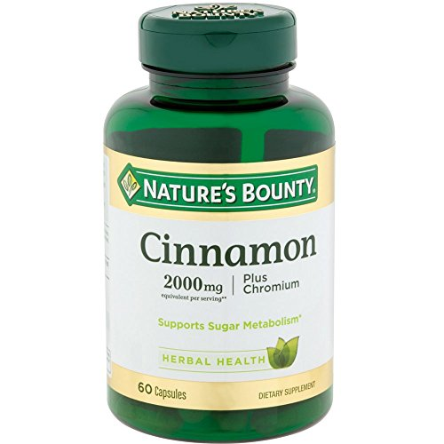 Nature's Bounty Cinnamon 2000mg Plus Chromium, Dietary Supplement Capsules 60 ea (Pack of 2)