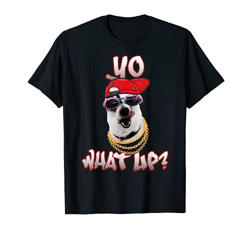Divertido Hip Hop Perro Rapero Party Pet Yo ¿Qué pasa? Camiseta